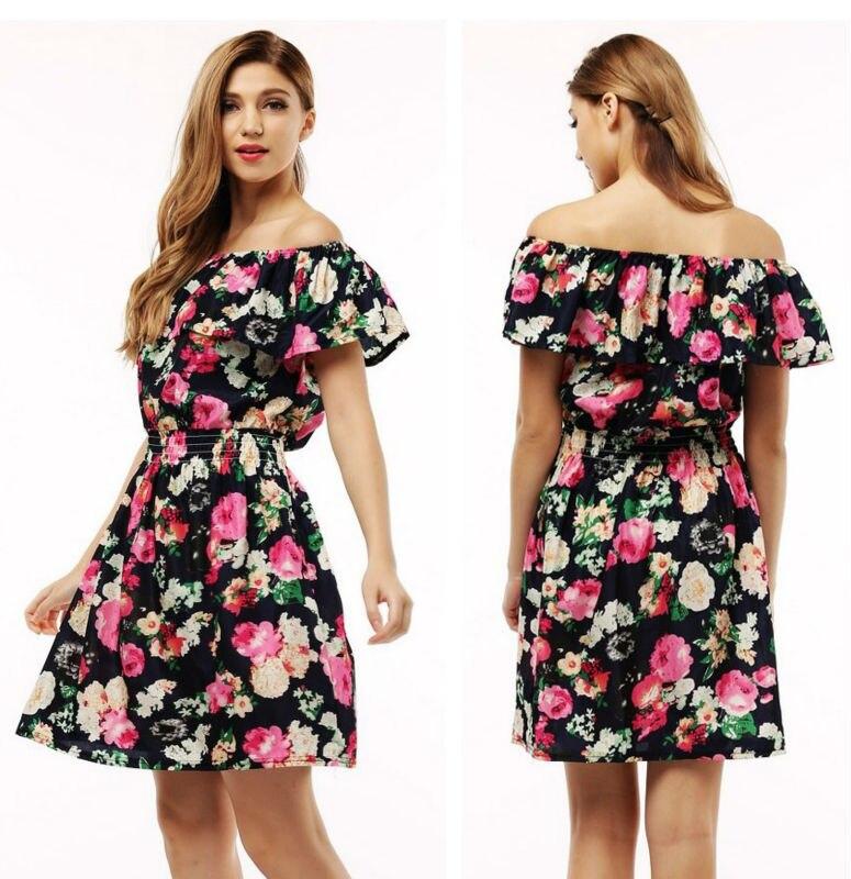 2017 fashion nowa wiosna lato plus size odzież kobiet floral print wzór sukienki na co dzień vestidos wc0472 1