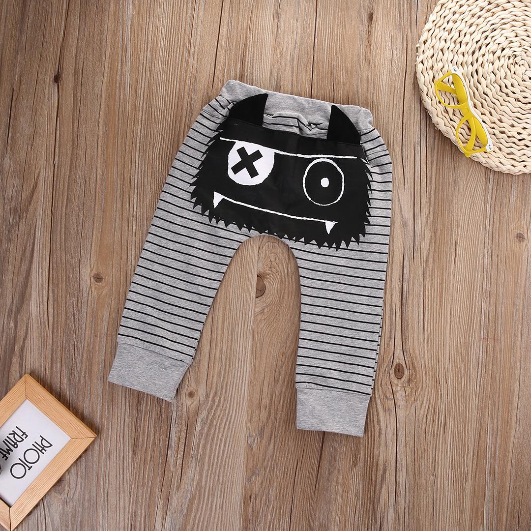 0-2Y Boys Baby Dziewczyny Cute Paski Potwór Dolne Spodnie Legginsy Spodnie Harem Dzieci Spodni 3
