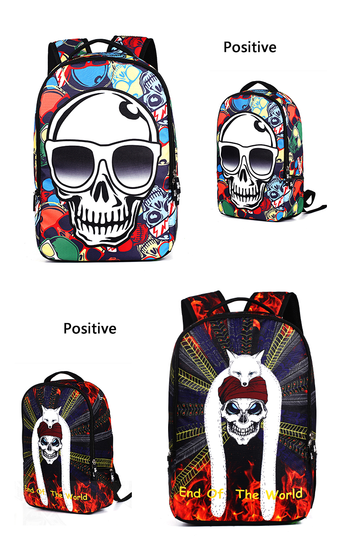 3D Punk pealuu kujundusega seljakott