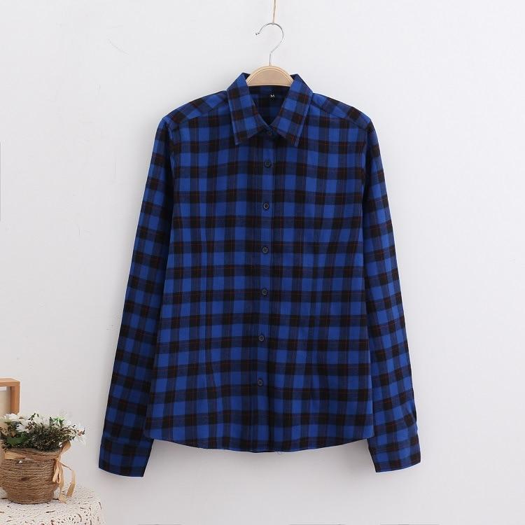 2016 Moda Plaid Shirt Kobiet College style damskie Bluzki Z Długim Rękawem Koszula Flanelowa Plus Rozmiar Bawełna Blusas Biuro topy 33