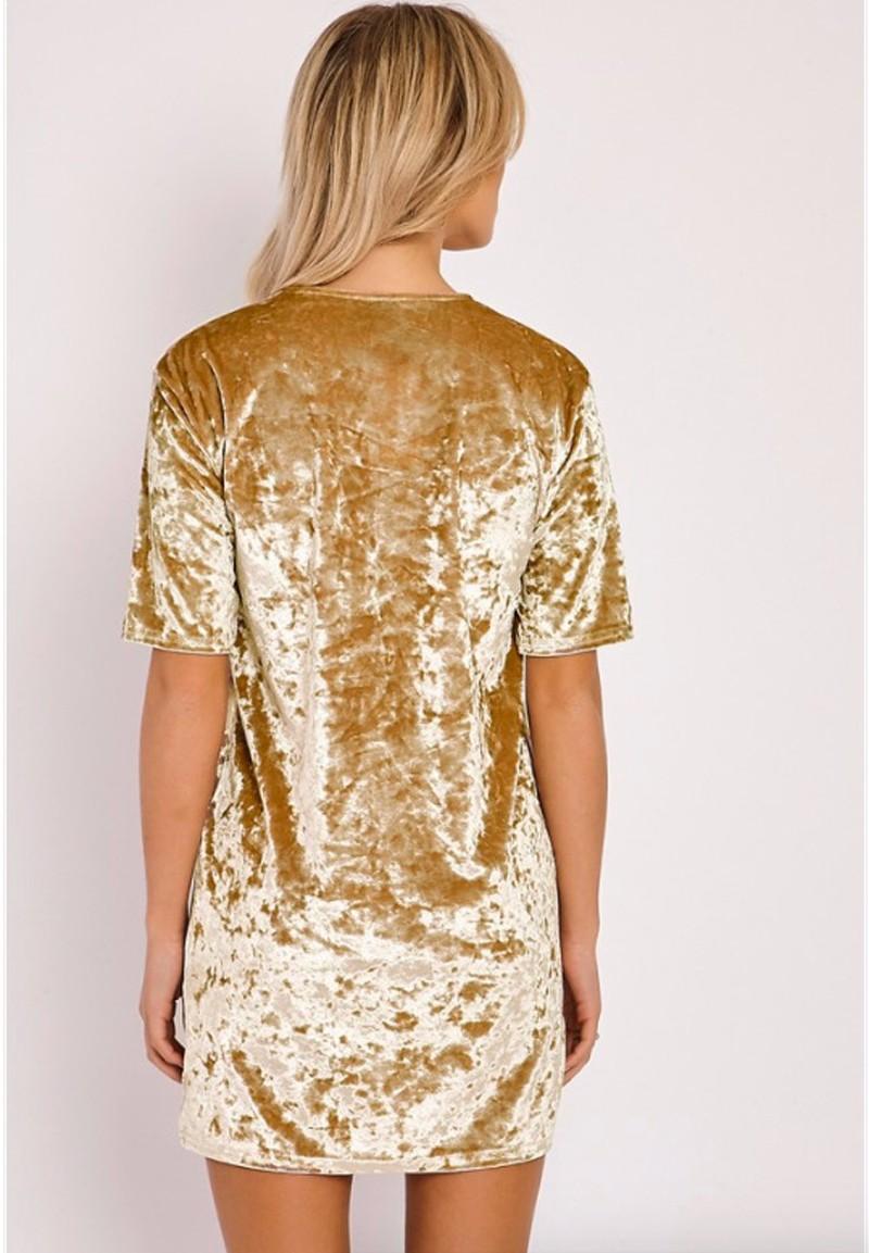 Short Sleeve Velvet Short Casual Dress 16