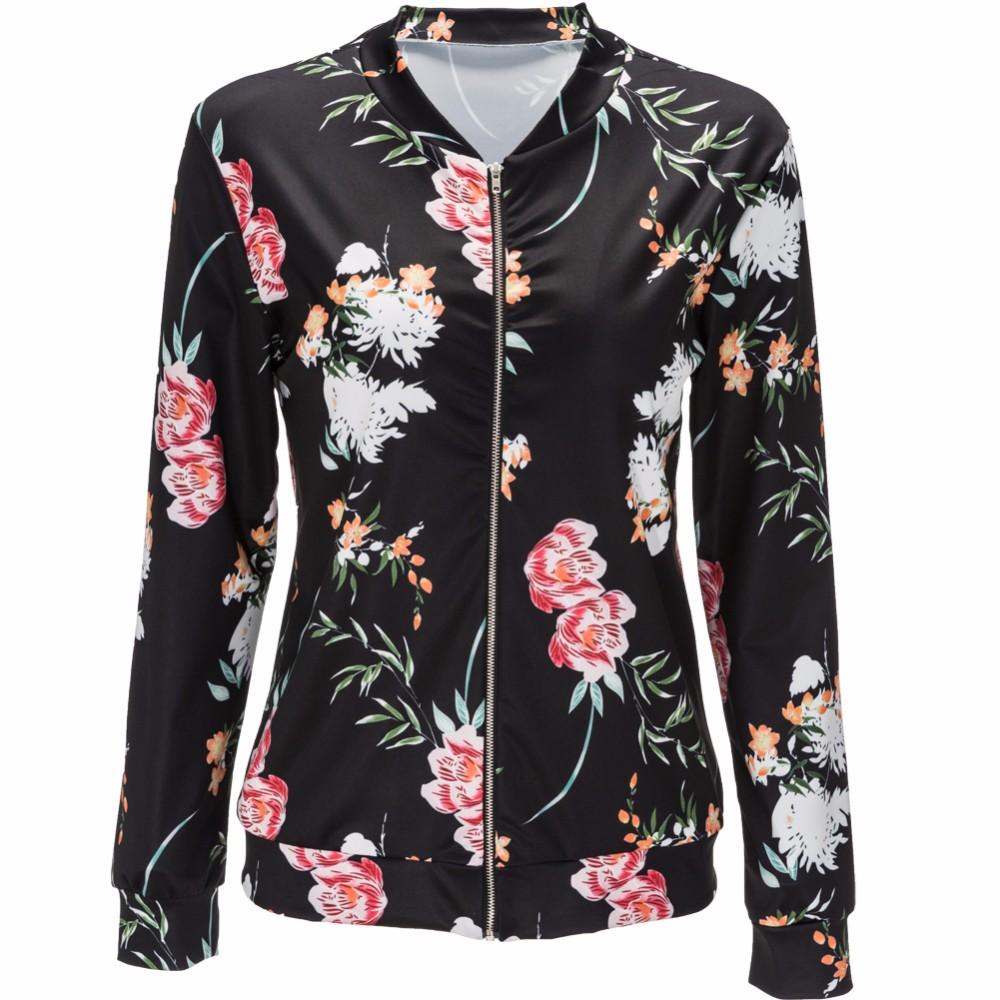 floral print long sleeve basic bomber jacket. Black Bedroom Furniture Sets. Home Design Ideas