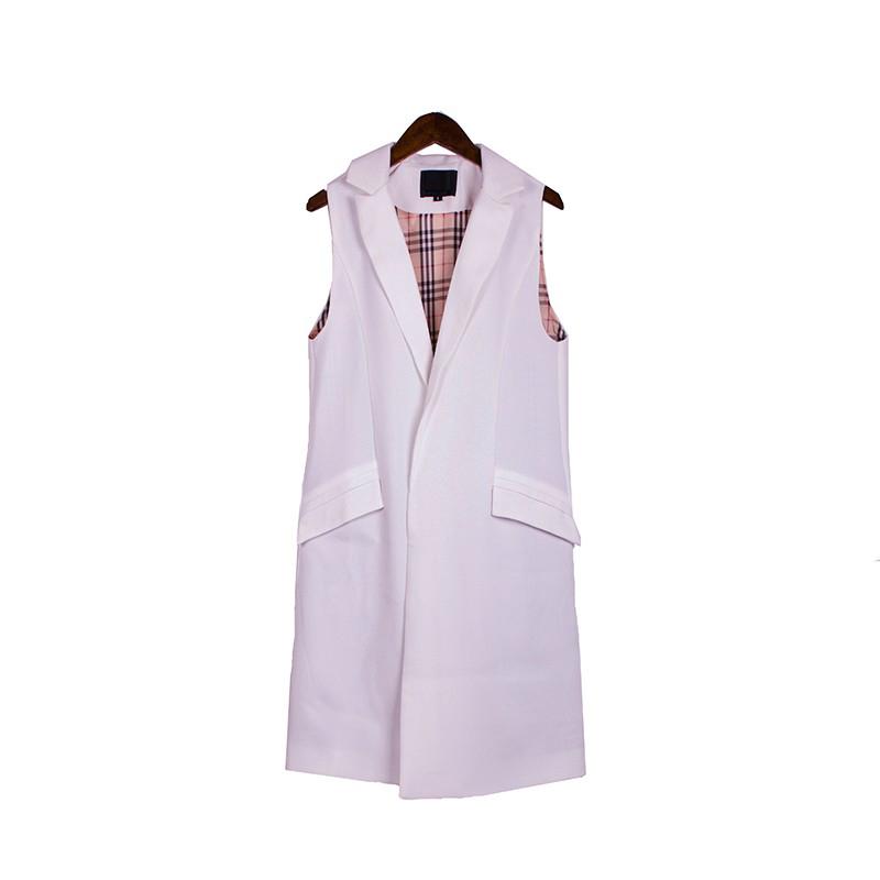 2017 wiosna nowy mody długie kieszenie turn-dół collar otwórz stitch pantone niebieski różowy beżowy czarny żakiet kamizelka bez rękawów kurtki 32