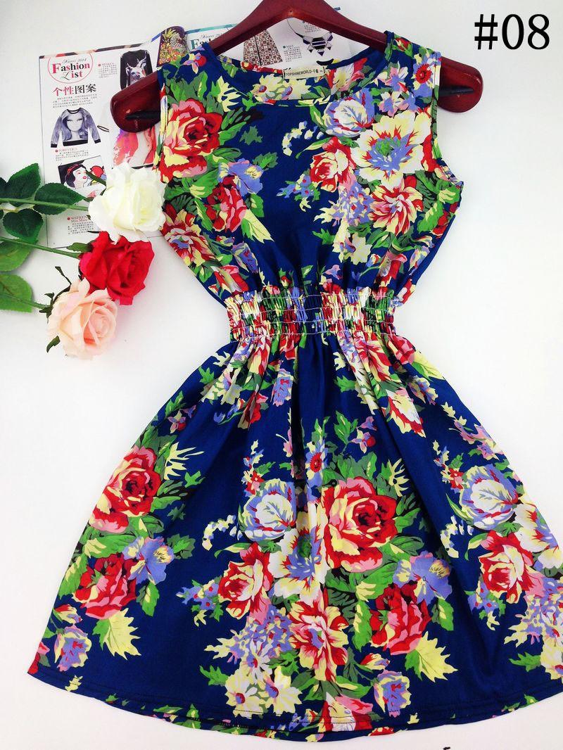 2017 lato jesień nowe koreańskie kobiety dorywczo czeski kamizelka bez rękawów lamparta kwiatów drukowane plaża chiffon dress vestidos wc0344 15