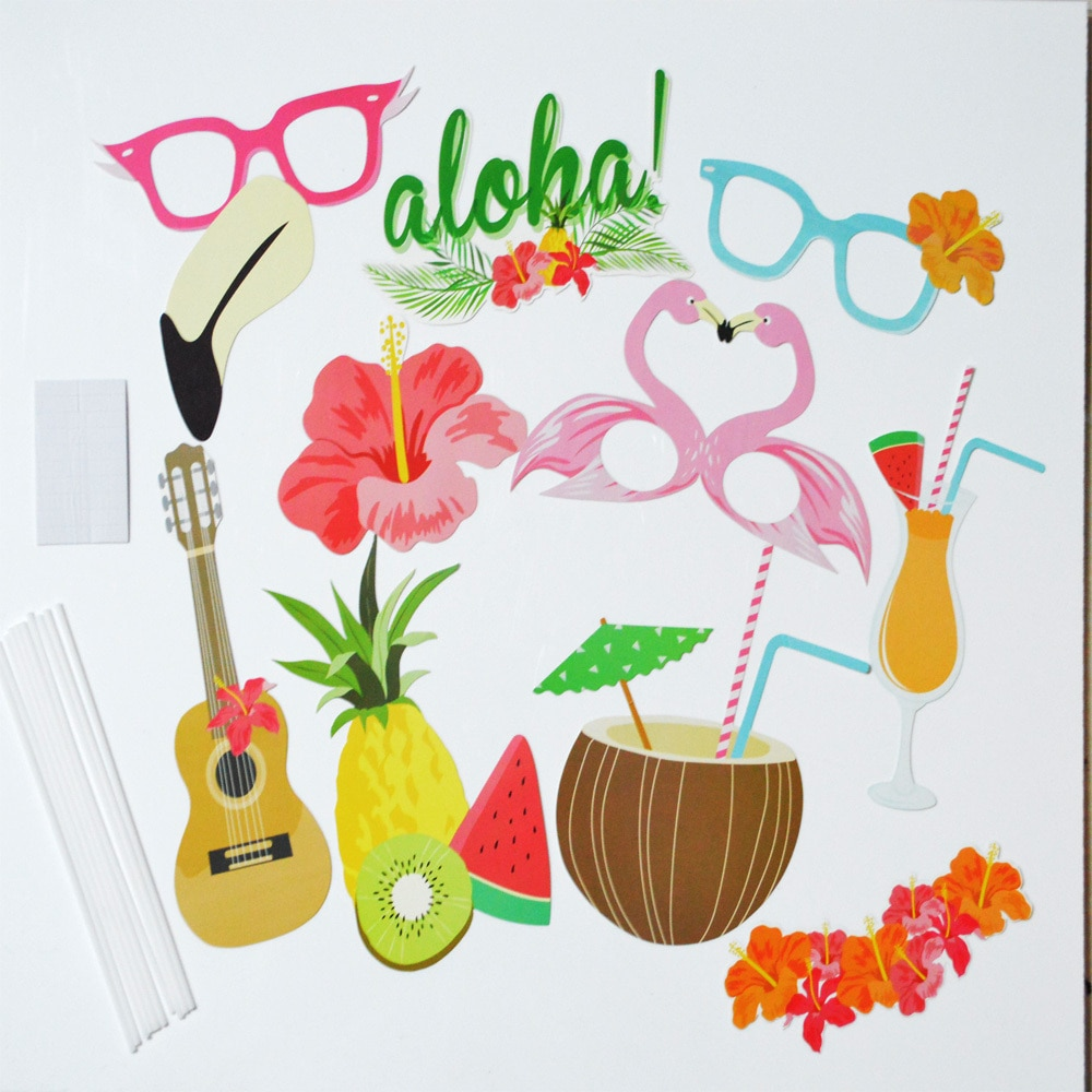 10pcs hawaii style photo booth props party wedding. Black Bedroom Furniture Sets. Home Design Ideas