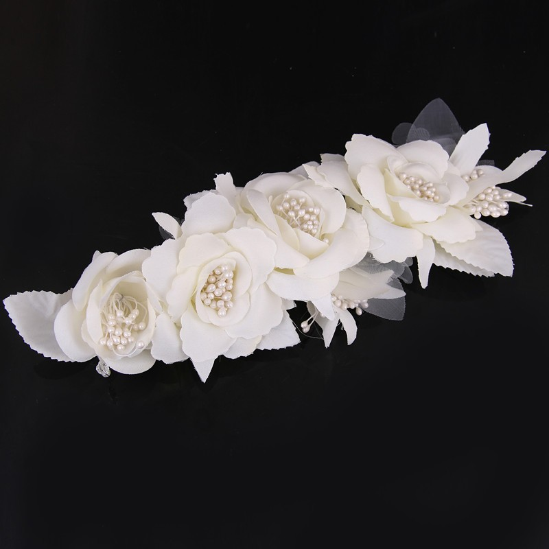 Elegant Bride Flower Pearl Wedding Charming Hair Clips 1