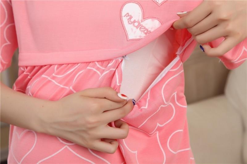 2016 Bawełna Cartoon Sukienka Macierzyński Piżamy Ubrania Dla Kobiet W Ciąży Karmienie Piersią Pielęgniarstwo Piżamy Koszula Nocna Z krótkim Rękawem 21