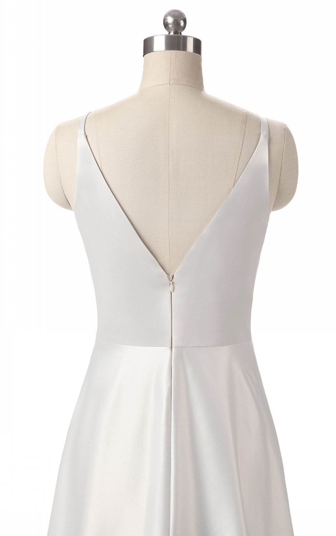 Elegant V-Neck Pleat Satin Long Evening Dress 10