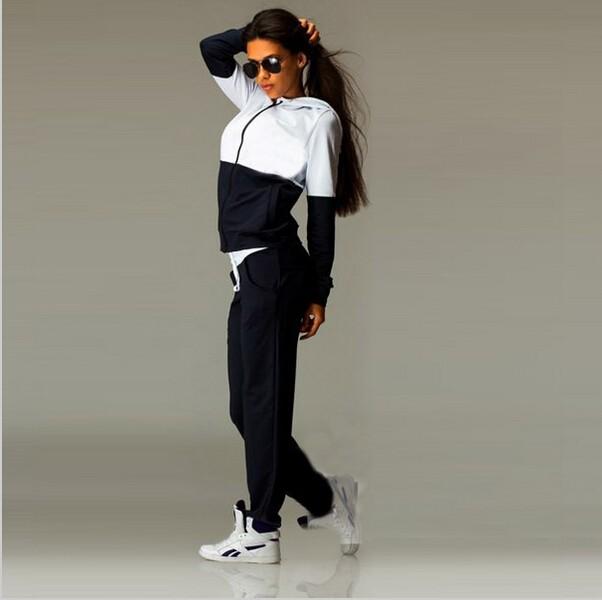 2016 Nowa Wiosna Odzież Przyczynowego 2 Sztuk Kobiety Bluzy z kapturem Bluza Dresy Garnitury Zestaw Bawełna Patchwork Kieszeń Plus Spodnie Dresowe 6