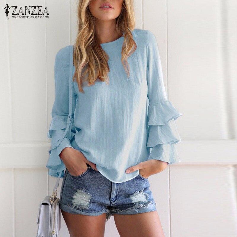 Zanzea kobiety bluzki koszule 2017 jesień eleganckie panie o-neck falbanką długim rękawem stałe blusas casual loose tops 7