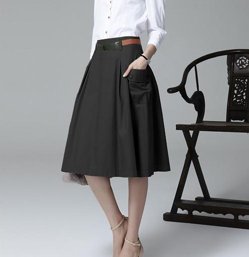 A-line Pockets Khaki and Black Button Midi Skirt 6