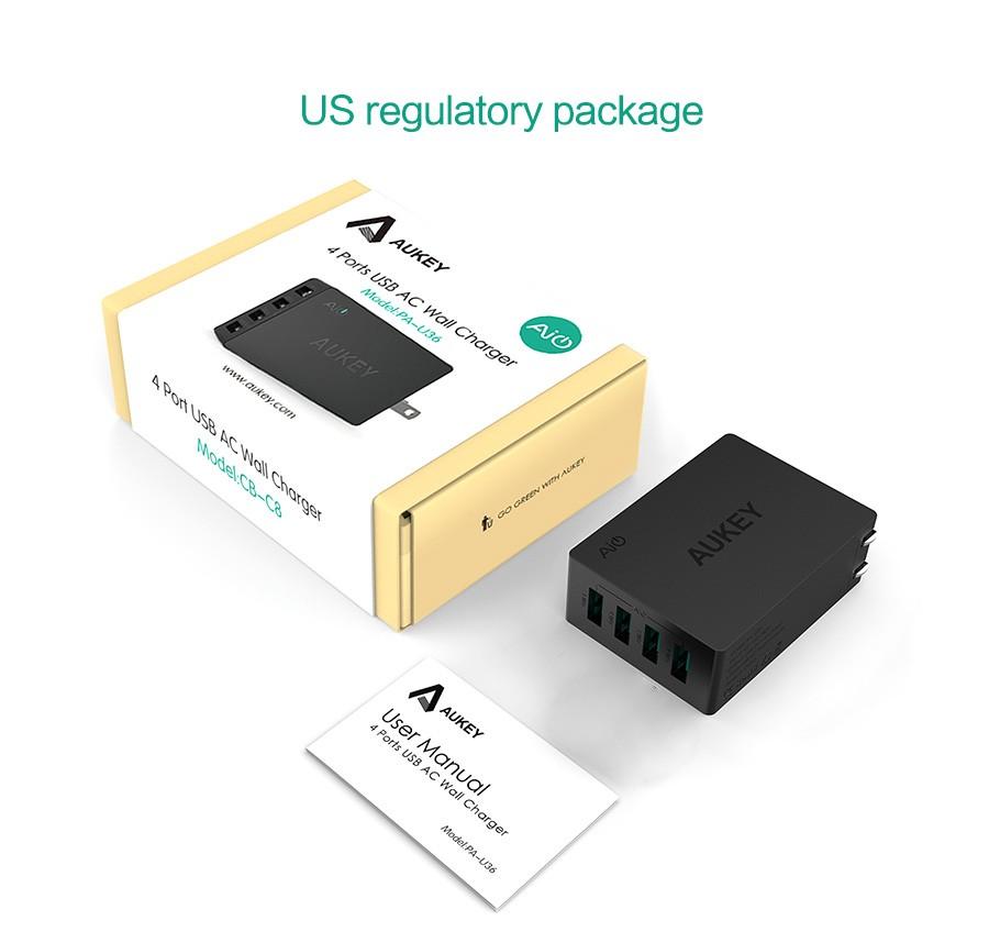 Aukey uniwersalny 4 porty usb ładowarka podróżna ładowarka ścienna adapter do iphone7 samsung s6 smart phones/pc/mp3 i usb urządzeń mobilnych 17