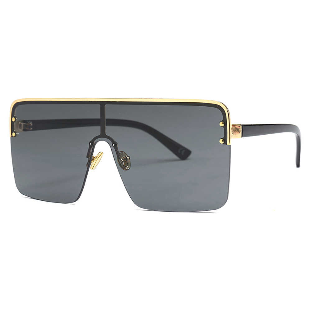 fe666fe628ae Kachawoo oversized square sunglasses for men one pieces lens windproof  semi-rimless women sun glasses