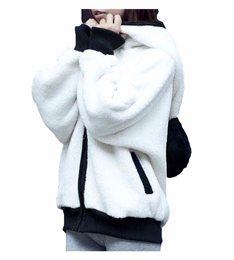 2017 Korea Zima Puszyste Panda Ucha Kobiety Swetry z Wełny Kaptur Batwing rękaw Bluza Dorywczo Słodkie Znosić sudadera mujer 3