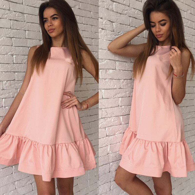 2017 damska vestidos sexy ruffles dress lato casual linia bez rękawów bodycon dress kobiety party plus rozmiar krótki mini suknie 4