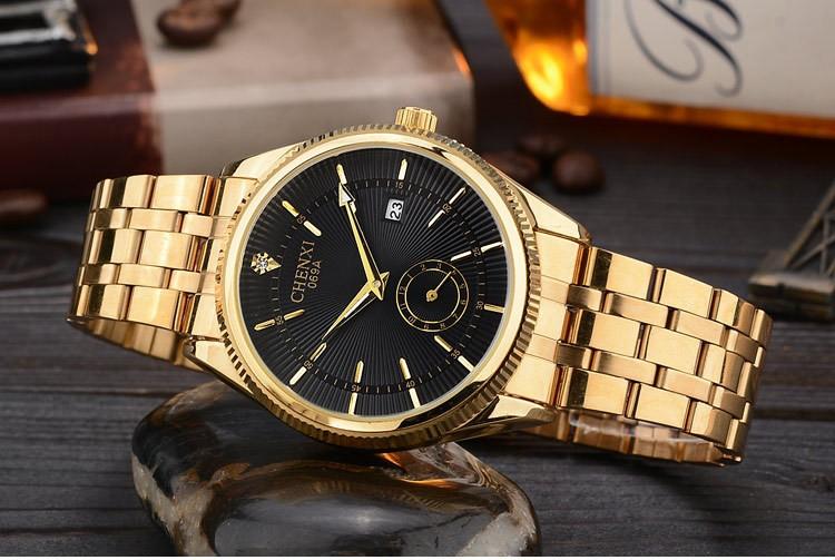 Chenxi złoty zegarek męskie zegarki top marka luksusowe znani zegarek męskie złoty zegarek kwarcowy kalendarz zegar relogio masculino 4