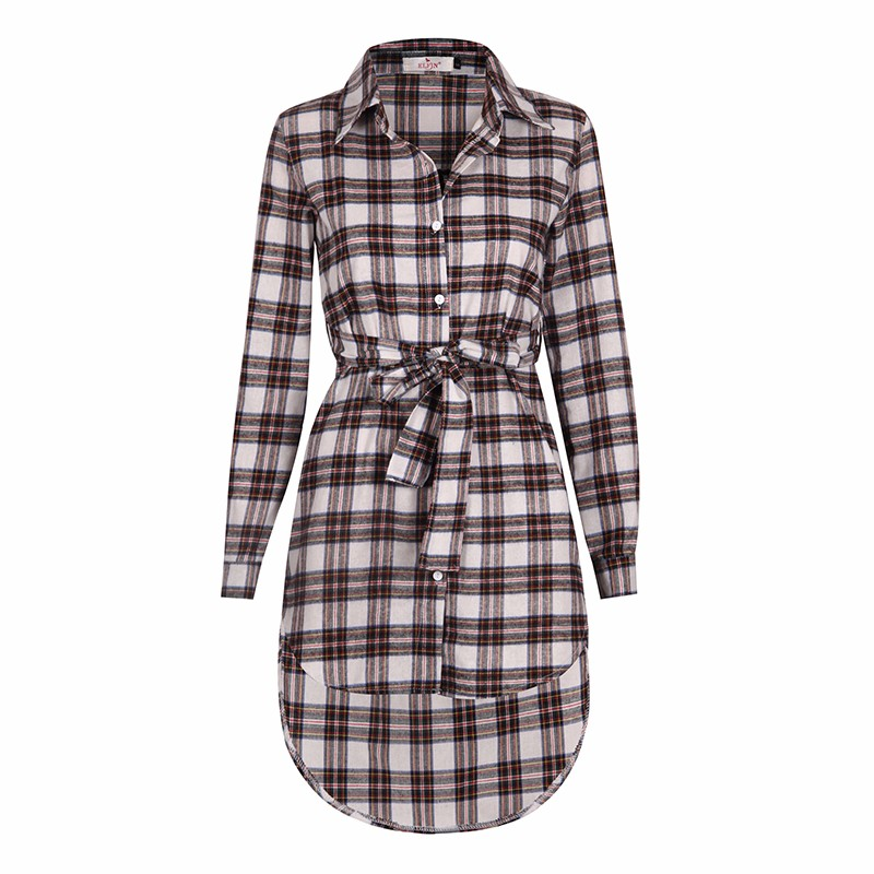 2017 dress kobiety nieregularne plaid shirt sukienki sexy długim rękawem turn down collar urząd casual dress lj5932c 6