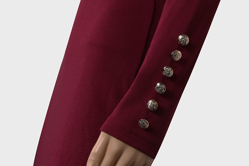 2017 fashion party dress kobiety sexy płaszcza bodycon midi dress stałe z długim rękawem z dzianiny pakiet hip dress vestidos s-xl lj7338e 6