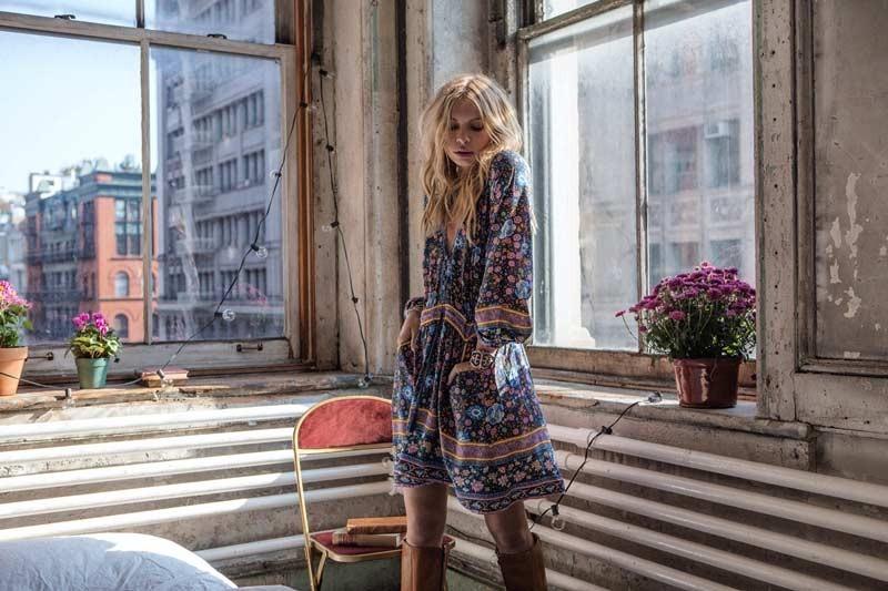 Boho zainspirowany 2017 letnie sukienki kwiatowy print cotton backless długi maxi dress hippie chic ruffles rękawem kobiety sexy vestidos 16