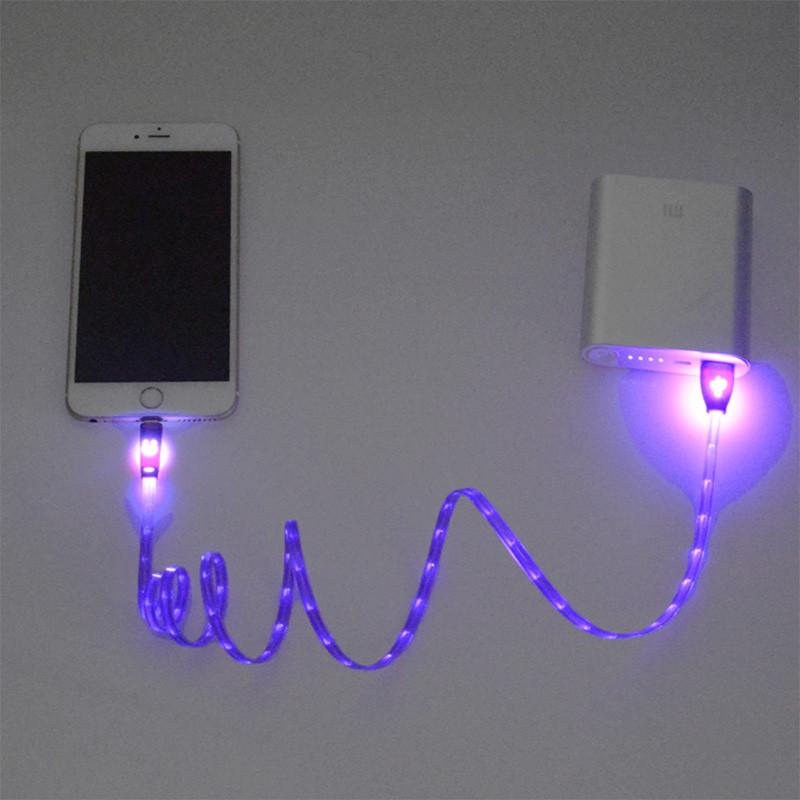 1 m noc światła led uniwersalny dla błyskawicy micro usb cable ładowarka złącze usb do ładowania danych sync dla iphone 7 ipad android 5