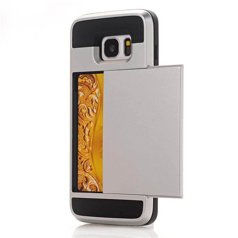 Zbroja slajdów credit card case do samsung galaxy s3 s4 s5 S6 S7 krawędzi Slot Portfel Shock Proof Skóry Twardego Plastiku + TPU Pokrywy Shell 10