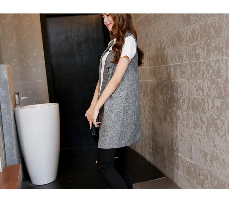 Kobiety Kamizelki 2016 Wiosna Moda Szczupła Blazer Klapie Kurtki Płaszcze Solidna Brak Przycisku Bez Rękawów Długa Kamizelka Kamizelka Chalecos Mujer 23