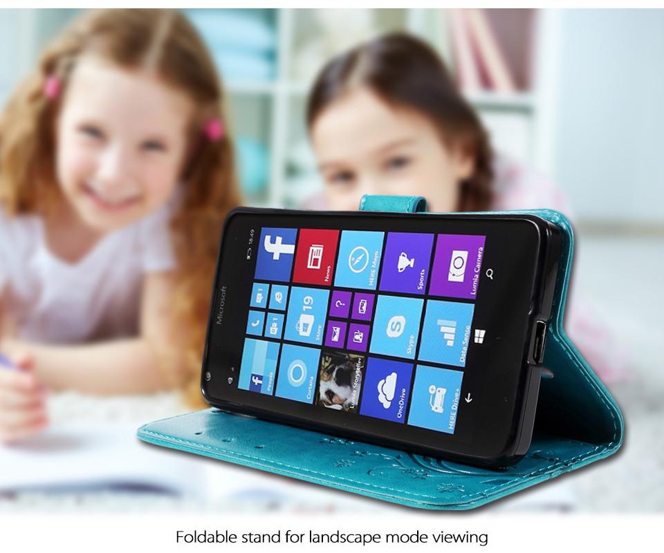 Dla microsoft nokia lumia 640 lumia 630 lumia 550 worek nadrukowane butterfly pu wizytownik skórzany telefon okładka case shell 3