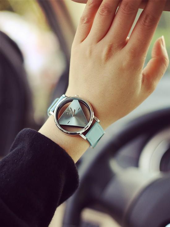 Szkielet zegarek Relogio feminino Trójkąt zegarka kobiet Delikatne przejrzyste pusta skórzany pasek wrist watch quartz dress watch 13