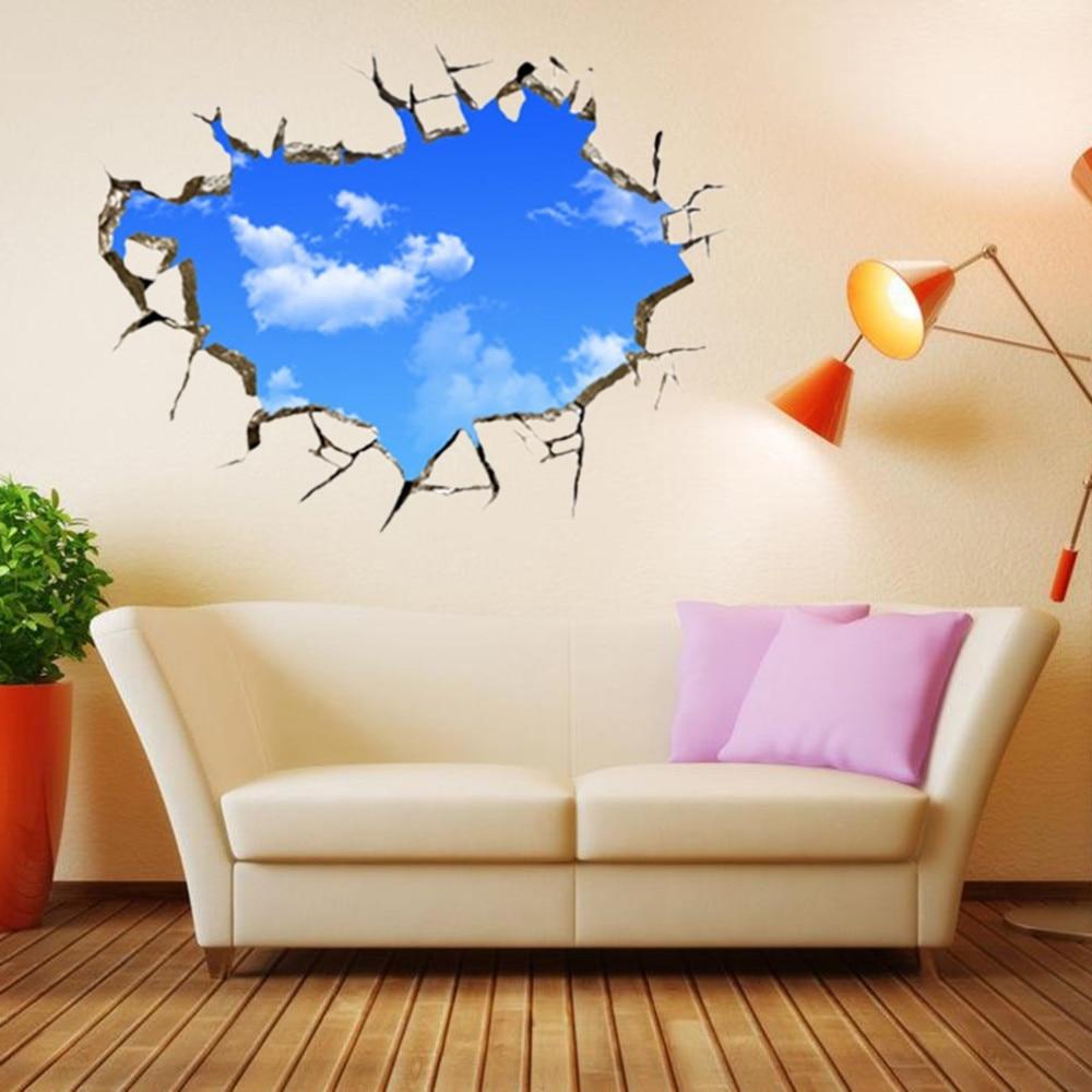 Nowy Kreatywny Błękitne Niebo Sufit Salonu Sypialni Naklejka Ścienna 3D Stereo 10