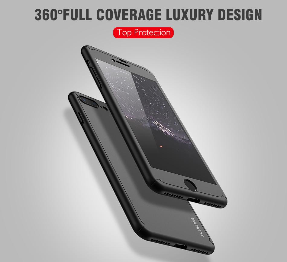 Floveme 360 pełna ochronne twarde etui na telefony iphone 6 6s plus 7 7 plus coque luksusowe odporny na wstrząsy case + ekran szkła Protector 1