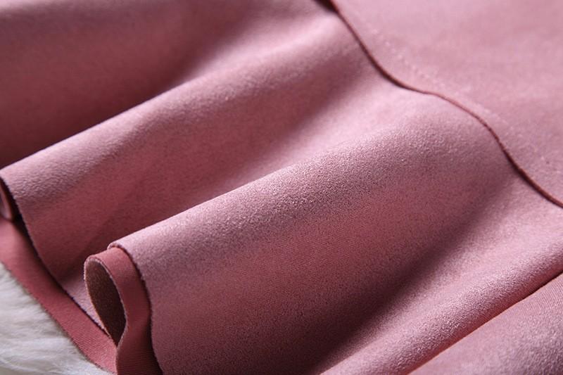O-Neck Long Sleeve Suede Mini Dress 9