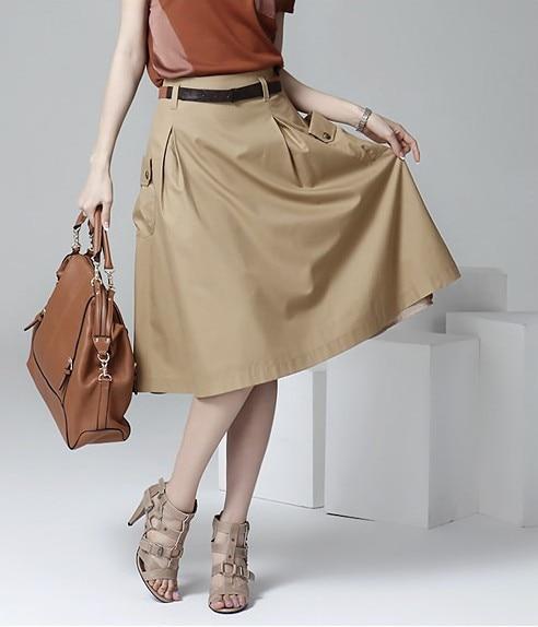 A-line Pockets Khaki and Black Button Midi Skirt 1