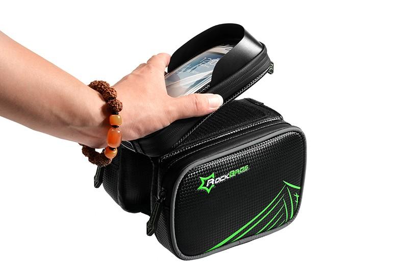 Rockbros mtb rama roweru przodu torba głowy górna rura podwójna IPouch Dotykowy Kolarstwo Pannier Dla 5.8/6 cal Smartfon Dotykowy ekran 15