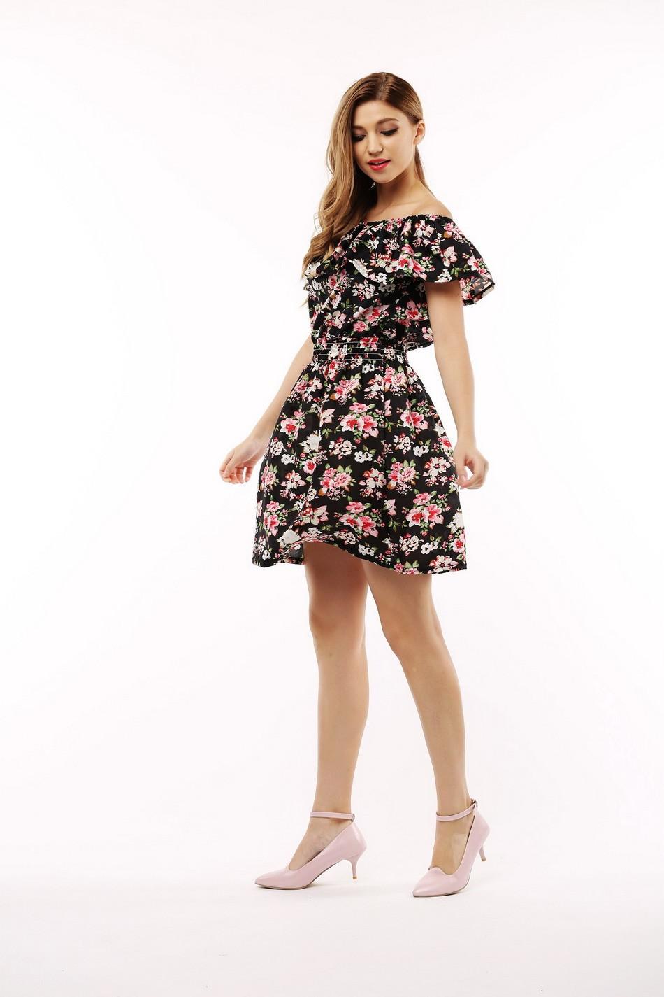 2017 fashion nowa wiosna lato plus size odzież kobiet floral print wzór sukienki na co dzień vestidos wc0472 5