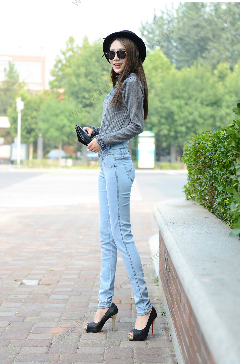 High Waist Elastic Skinny Denim Long Pencil Pants 9
