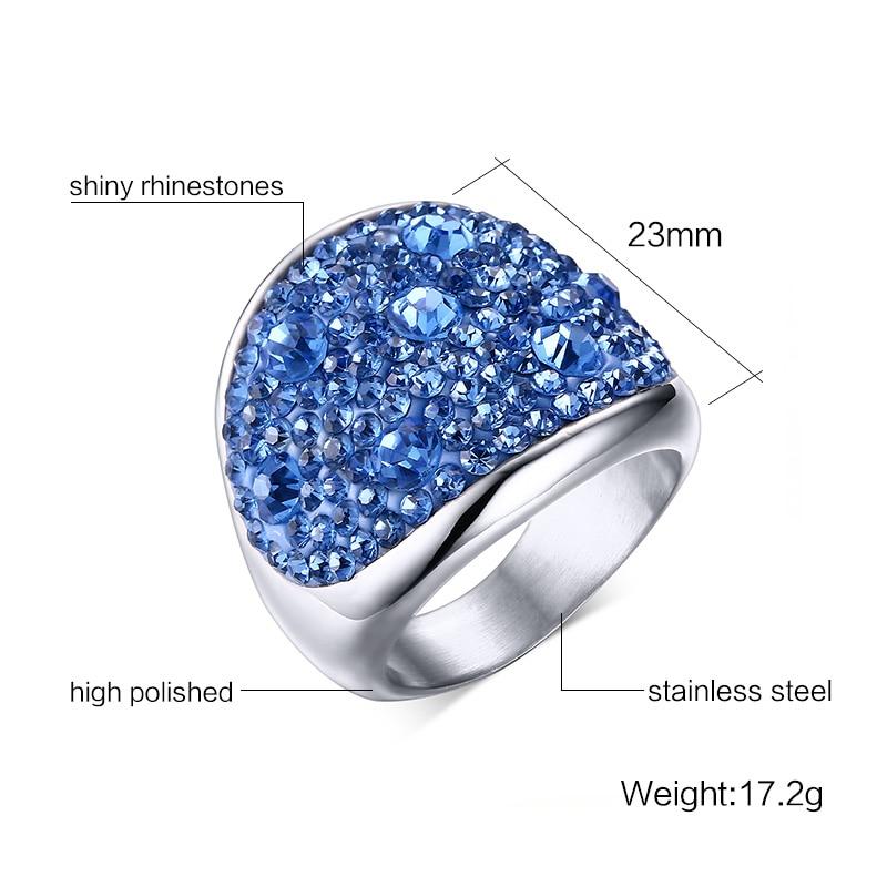 Crystal Rhinestone Stainless Steel Wedding Rings For Women 1
