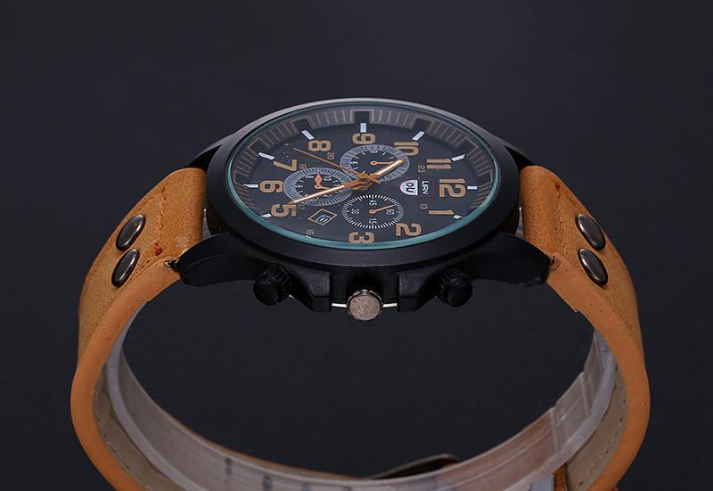 2016 New Business Quartz watch Men sport Zegarki Wojskowe Mężczyźni Corium Skórzanym Paskiem armii zegarek zegar godziny Kompletna Kalendarz 12