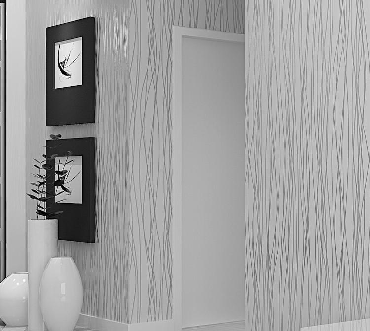 Włókniny Mody Cienkie Pionowe Paski Uciekają Tapety Do Salonu Sofa Tle Ściany Domu Tapety 3D Szary Srebrny 3