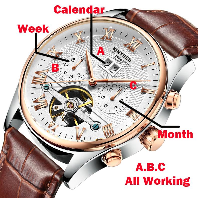 2017 Kinyued Skeleton Tourbillon Zegarek Mechaniczny Automatyczny Mężczyźni Klasyczne Rose Złota Skóra Mechaniczne Zegarki Reloj Hombre 6