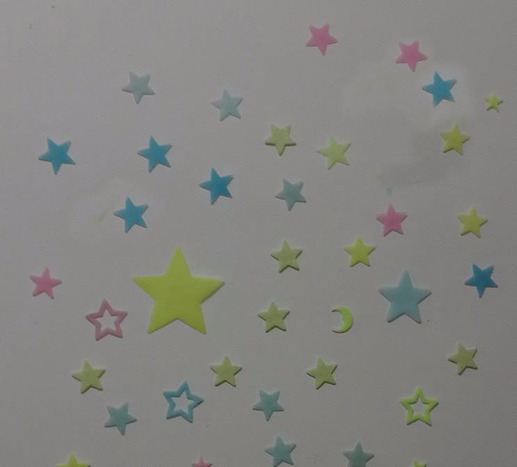 Darmowa Wysyłka Nowy Gorący 100 sztuk 3D Gwiazdy Świecą W Dark Luminous Jarzeniowe Plastikowe Naklejki Ścienne Living Home Decor Kids pokoje 12