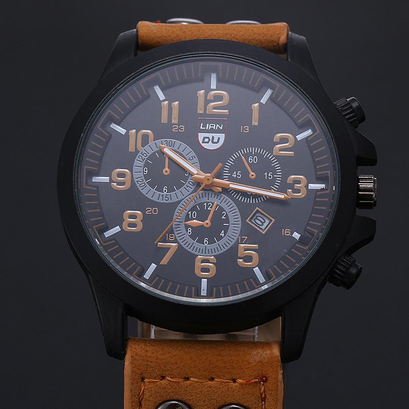 2016 New Business Quartz watch Men sport Zegarki Wojskowe Mężczyźni Corium Skórzanym Paskiem armii zegarek zegar godziny Kompletna Kalendarz 7