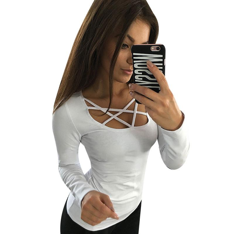 Kobiety Koszulki Z Długim Rękawem Topy Hollow Out Bandaż Swetry Slim Sexy Topy Tees Blusas plus size LJ4515M Femme 1