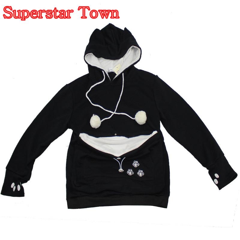 Cat hoodie bluzy z cuddle etui dog pet bluzy dla casual swetry z uszami 4