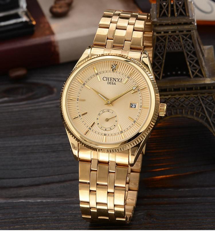 Chenxi złoty zegarek męskie zegarki top marka luksusowe znani zegarek męskie złoty zegarek kwarcowy kalendarz zegar relogio masculino 8