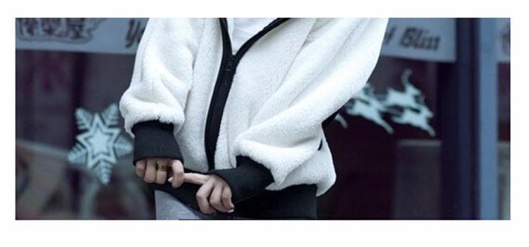 2017 Korea Zima Puszyste Panda Ucha Kobiety Swetry z Wełny Kaptur Batwing rękaw Bluza Dorywczo Słodkie Znosić sudadera mujer 6