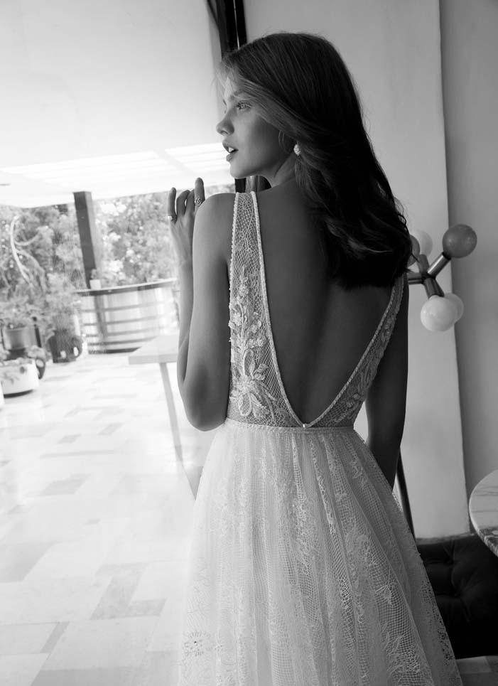 Deep V-Neck Unique Lace Beaded A-Line Boho Wedding Dress 3