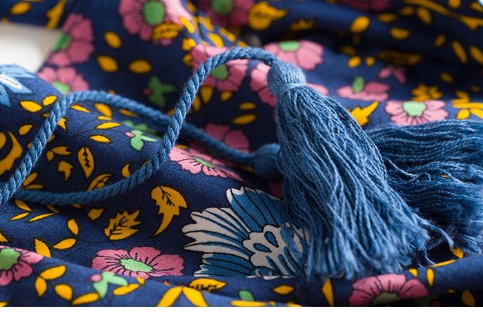 Boho zainspirowany 2017 letnie sukienki kwiatowy print cotton backless długi maxi dress hippie chic ruffles rękawem kobiety sexy vestidos 20