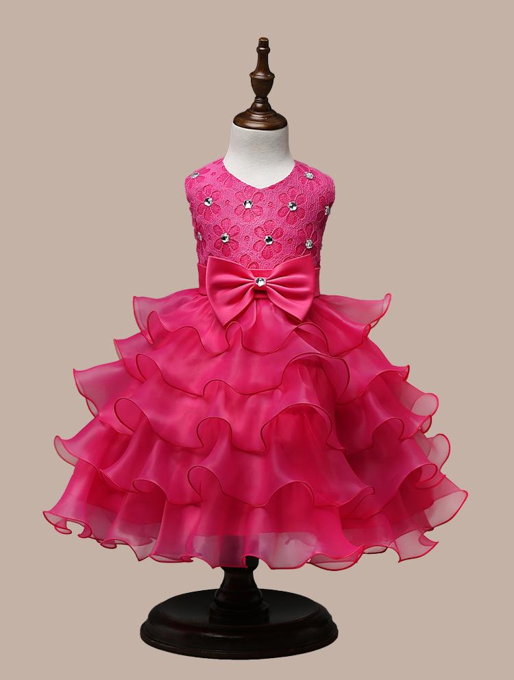 0-7 Years Mutlti Layer White Pink Flower Girl Dress 13