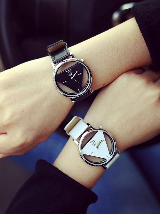 Szkielet zegarek Relogio feminino Trójkąt zegarka kobiet Delikatne przejrzyste pusta skórzany pasek wrist watch quartz dress watch 1