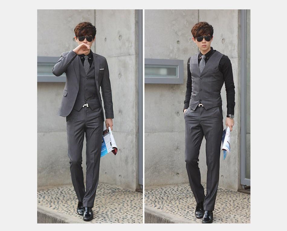 (Kurtka + Spodnie + Tie) luksusowe Mężczyzn Garnitur Mężczyzna Blazers Slim Fit Garnitury Ślubne Dla Mężczyzn Kostium Biznes Formalne Party Niebieski Klasycznej Czerni 6